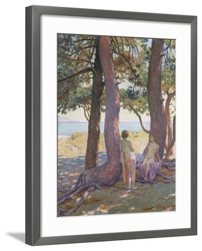 Two Nudes under Pine-Trees-Theo Rysselberghe-Framed Art Print