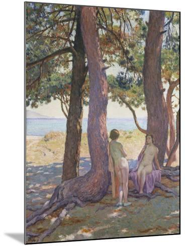 Two Nudes under Pine-Trees-Theo Rysselberghe-Mounted Giclee Print
