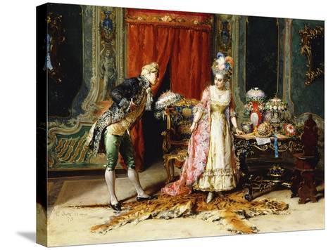 Flowers for her Ladyship-Cesare Auguste Detti-Stretched Canvas Print