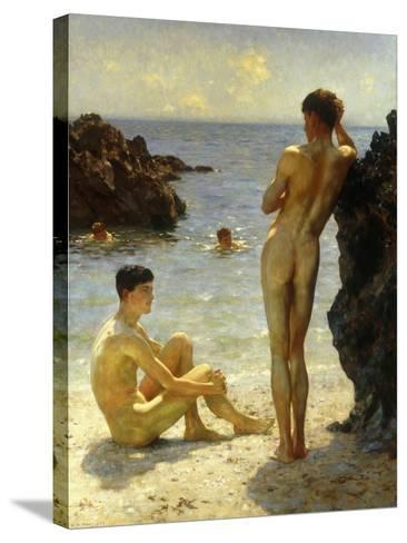 Lovers of the Sun-Henry Scott Tuke-Stretched Canvas Print