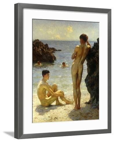 Lovers of the Sun-Henry Scott Tuke-Framed Art Print