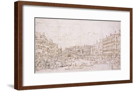 The Grand Canal, Venice, with the Rialto Bridge from the South-Bernardo Bellotto-Framed Art Print