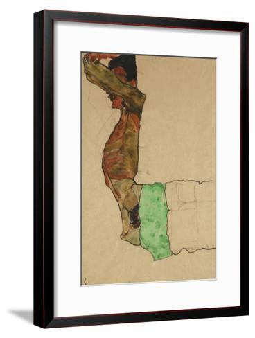 Reclining Male Nude with Green Cloth (Self-Portrait)-Egon Schiele-Framed Art Print