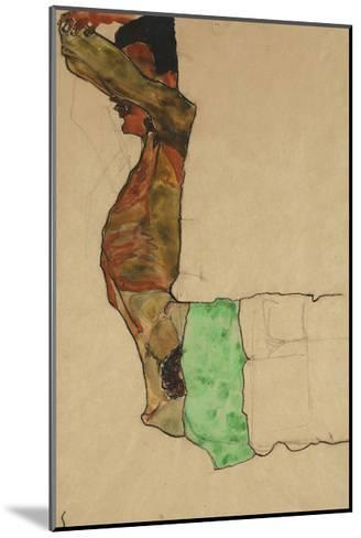 Reclining Male Nude with Green Cloth (Self-Portrait)-Egon Schiele-Mounted Giclee Print
