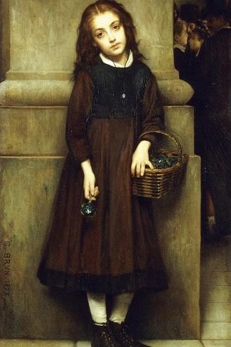 Flower Girl outside the Opera-Guillaume Charles Brun-Stretched Canvas Print