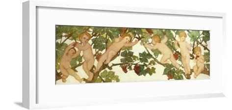Putti Frolicking in a Vineyard-Phoebe Anna Traquair-Framed Art Print