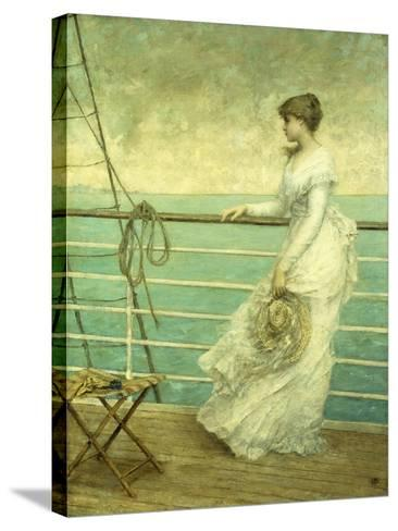 Lady on the Deck of a Ship-French School-Stretched Canvas Print