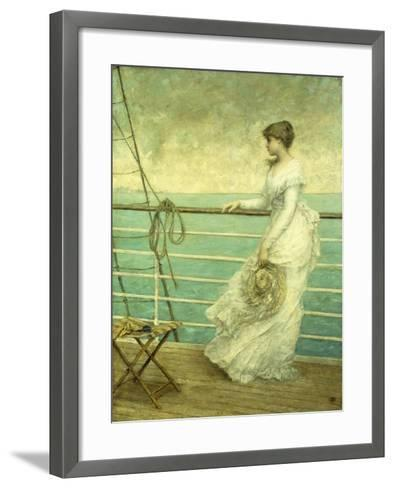 Lady on the Deck of a Ship-French School-Framed Art Print