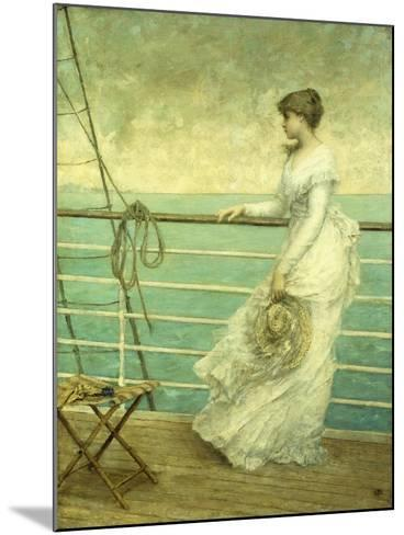 Lady on the Deck of a Ship-French School-Mounted Giclee Print