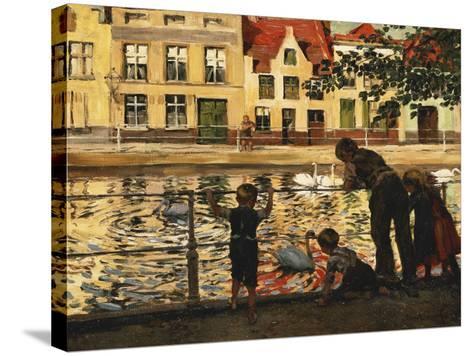 Feeding the Swans-Paul Graf-Stretched Canvas Print