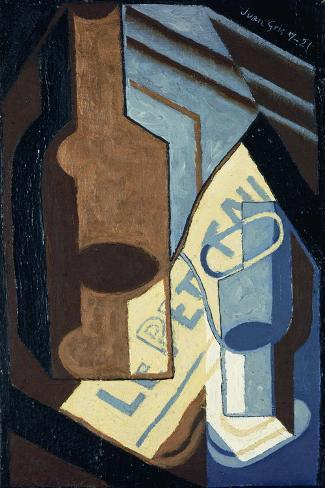 Bottle and Glass-Juan Gris-Stretched Canvas Print