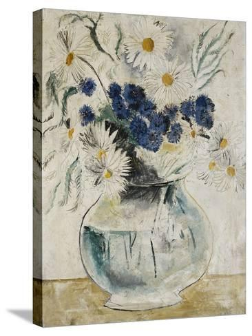 Daisies and Cornflowers in a Glass Bowl-Christopher Wood-Stretched Canvas Print
