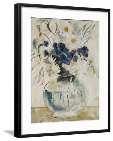 Daisies and Cornflowers in a Glass Bowl-Christopher Wood-Framed Art Print