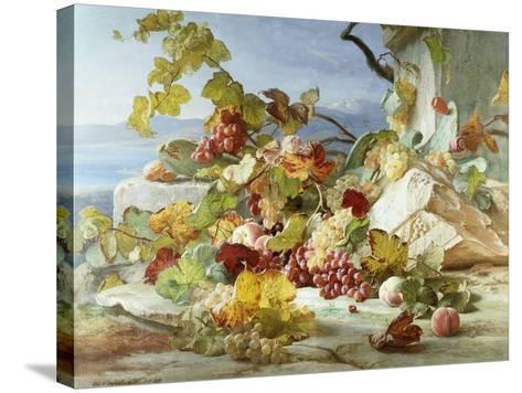 Peaches and Grapes in a Rocky Landscape-Theude Gronland-Stretched Canvas Print