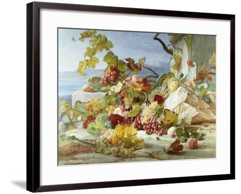 Peaches and Grapes in a Rocky Landscape-Theude Gronland-Framed Art Print