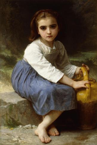 Young Girl with a Pitcher-William Adolphe Bouguereau-Stretched Canvas Print