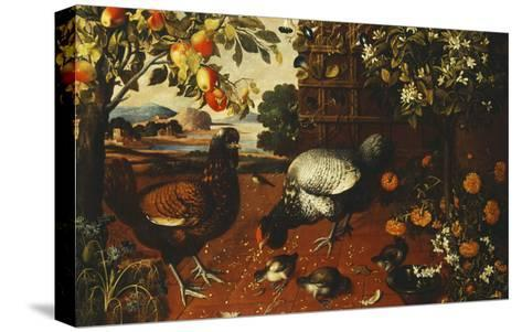 A Cock, a Hen and Chicks in a Yard-Thomas Hiepes-Stretched Canvas Print