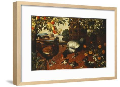 A Cock, a Hen and Chicks in a Yard-Thomas Hiepes-Framed Art Print