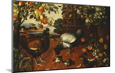 A Cock, a Hen and Chicks in a Yard-Thomas Hiepes-Mounted Giclee Print