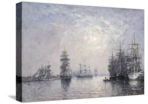 Le Havre, Eure Basin, Sailing Boats at Anchor, Sunset-Eug?ne Boudin-Stretched Canvas Print