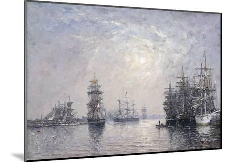 Le Havre, Eure Basin, Sailing Boats at Anchor, Sunset-Eug?ne Boudin-Mounted Giclee Print