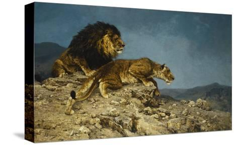 Lowen auf dem Raubzuge-Julius Hugo Bergmann-Stretched Canvas Print