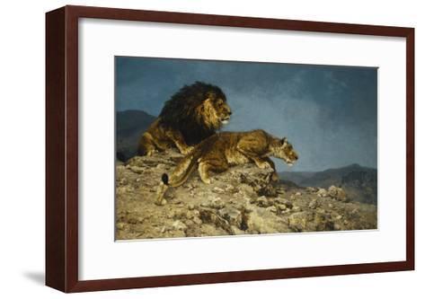 Lowen auf dem Raubzuge-Julius Hugo Bergmann-Framed Art Print