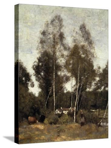 Clairiere Pierre du Bois, the Evaux, near Chateau-Thierry-Jean-Baptiste-Camille Corot-Stretched Canvas Print