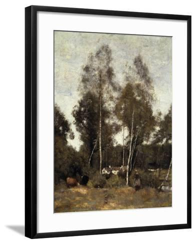 Clairiere Pierre du Bois, the Evaux, near Chateau-Thierry-Jean-Baptiste-Camille Corot-Framed Art Print