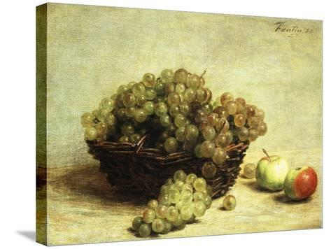 Still-life, Raisins and Apples in a Basket-Henri Fantin-Latour-Stretched Canvas Print