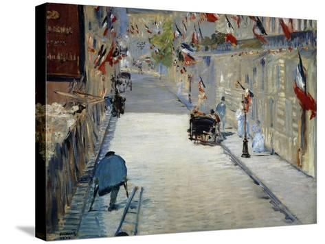 Flags in Mosnier Street-Edouard Manet-Stretched Canvas Print