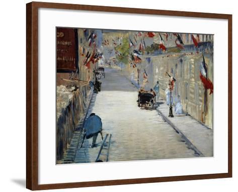 Flags in Mosnier Street-Edouard Manet-Framed Art Print
