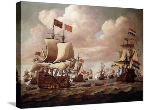 The English and Dutch Fleets exchanging Salutes at Sea-Willem Velde I-Stretched Canvas Print