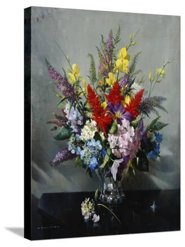 Still Life with Buddleia, Hydrangea and Clematis-Vernon Ward-Stretched Canvas Print