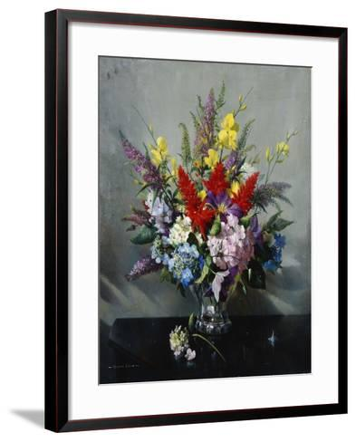 Still Life with Buddleia, Hydrangea and Clematis-Vernon Ward-Framed Art Print
