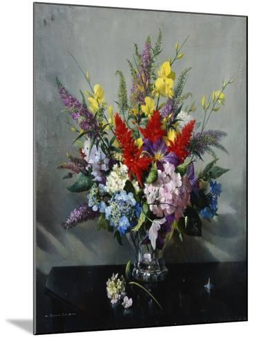 Still Life with Buddleia, Hydrangea and Clematis-Vernon Ward-Mounted Giclee Print