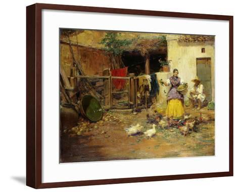 Feeding the Chickens-Benlliure y Gil Jose-Framed Art Print
