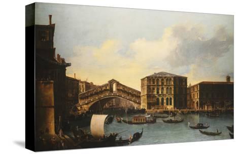 The Rialto Bridge, venice, from the North- Venetian School-Stretched Canvas Print