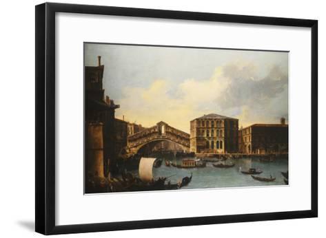 The Rialto Bridge, venice, from the North- Venetian School-Framed Art Print