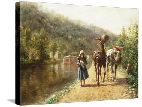 On the Towpath-Henry Edward Lamson-Stretched Canvas Print