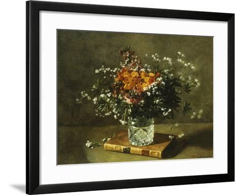 A Floral Still Life-Emile Gustave Couder-Framed Art Print