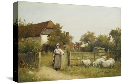 Young Girl with Sheep, by a Cottage-Benjamin D. Sigmund-Stretched Canvas Print