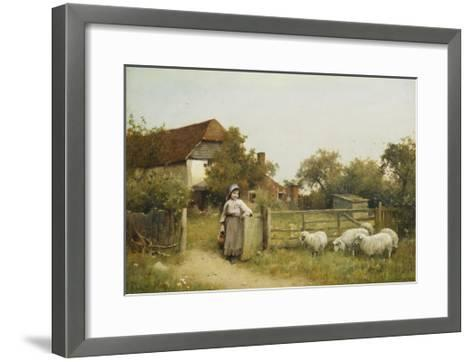 Young Girl with Sheep, by a Cottage-Benjamin D. Sigmund-Framed Art Print