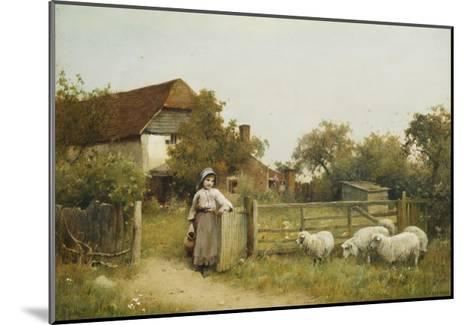 Young Girl with Sheep, by a Cottage-Benjamin D. Sigmund-Mounted Giclee Print