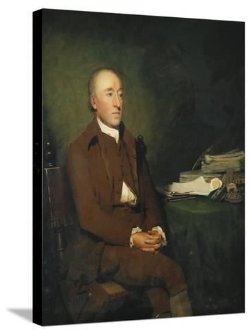 Portrait of Dr James Hutton, a Pile of Geological Specimens on the Table Beside Him-Sir Henry Raeburn-Stretched Canvas Print