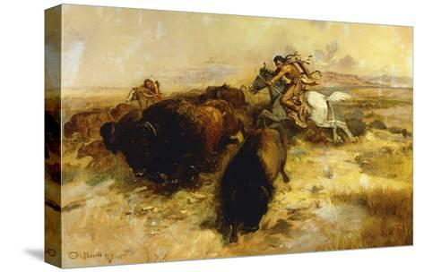 Buffalo Hunt-Charles Marion		 Russell-Stretched Canvas Print