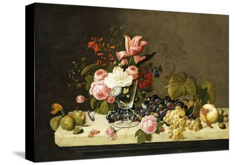 Flowers and Fruit-Severin Roesen-Stretched Canvas Print