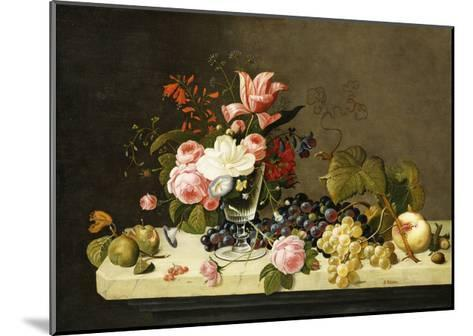 Flowers and Fruit-Severin Roesen-Mounted Giclee Print