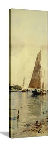 Drying the Sails, Oyster Boats, Patchogue, Long Island-Alfred Thompson Bricher-Stretched Canvas Print