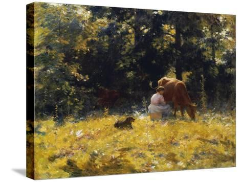 Milking Time-Charles Courtney Curran-Stretched Canvas Print